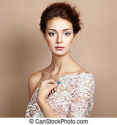 vacker, stil, foto, ung, Årgång, kvinna