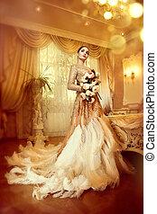 vacker, stil, kväll, skönhet, room., klänning, luxuös, elegant, längd, kvinna, fyllda, underbar, inre, stående, dam