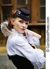 vacker, stil, kvinna, klätt, viktorian, retro
