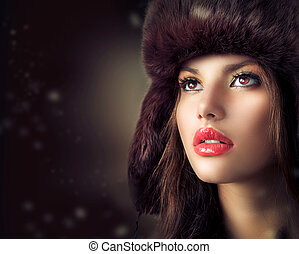 vacker, stil, kvinna, pälsfodra, vinter, ung, hat.