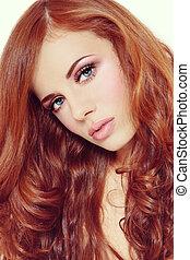 vacker, stil, lockig, årgång, ung, långt hår, stående, flicka, röd