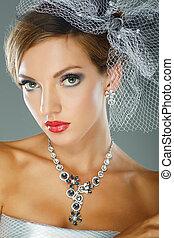 vacker, stil, mode, foto, bröllop, utsmyckningar, flicka