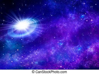 vacker, stjärnbeströdd himmel, bakgrund, utrymme