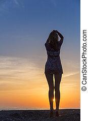 vacker, strand, kvinna, solnedgång, ung