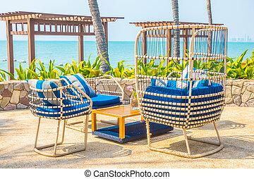 vacker, strand, och, hav, med, palm trä