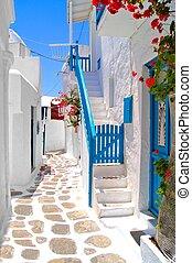 vacker, streets, av, grekland