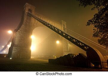vacker, synhåll, av, den, gammal by, bro, om natten