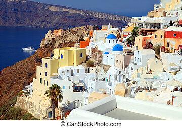 vacker, synhåll, med, färgrik, hus, in, by, av, oia, santorini ö, grekland