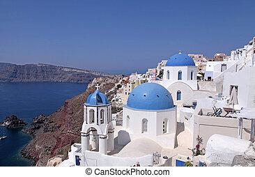vacker, synhåll, med, ortodox kyrka, in, oia, santorini ö, grekland