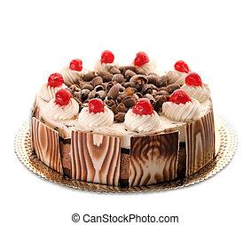 vacker, tårta, hel