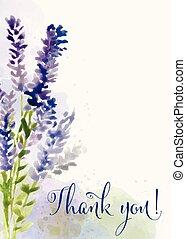 """vacker, """", tacka, you"""", vattenfärg, blommig, meddelande, ..."""