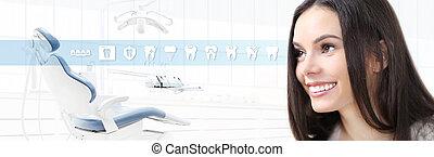 vacker, tandläkare, kvinna, bakgrund, ikonen, begrepp, dental, tänder, klinik, tandläkare, nät, mall, stol, le, baner, omsorg