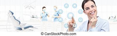 vacker, tandläkare, kvinna, bakgrund, pekande, ikonen, begrepp, finger, dental, tänder, klinik, tandläkare, nät, mall, stol, le, baner, omsorg