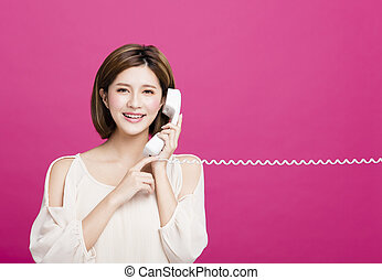 vacker, telefonera kvinna, ung, talande