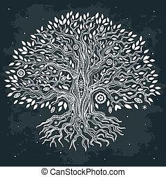vacker tillvaro, årgång, träd, hand, oavgjord