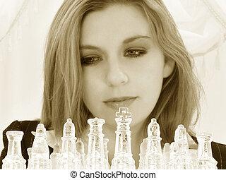 vacker, tjugofem, gammalt år, affärsverksamhet kvinna, med, schacker sätter