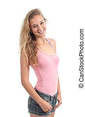 vacker, tonåring, student, stående, flicka leende
