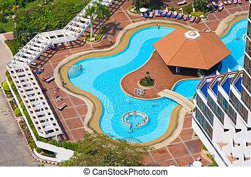 vacker, topp, thailand., utsikt., slå samman, simning