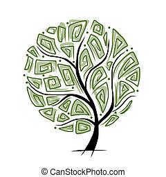 vacker, träd, design, konst, din