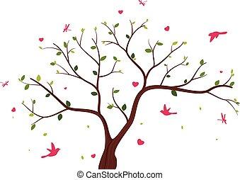 vacker, träd, Fåglar