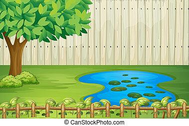 vacker, träd, landskap, damm