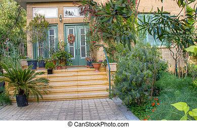 vacker, trädgård, hus, nicosia, traditionell, hänrycka, cypern