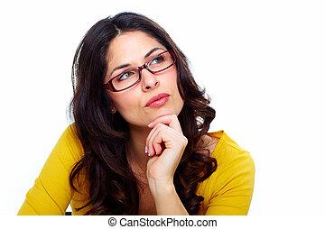 vacker, tröttsam, kvinna, ung, glasses.