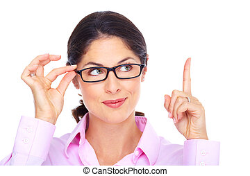 vacker, tröttsam, kvinna, ung, portrait., glasögon