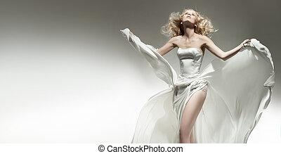 vacker, tröttsam, kvinna, ung, sexig, vita klä