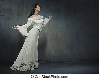 vacker, tröttsam, kvinna, vägg, över, grungy, vita klä