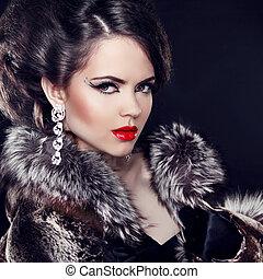 vacker, tröttsam, lady., pälsfodra, smycken, elegant, täcka, över, bakgrund., kvinna, svart, lyxvara, mode