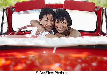 vacker, tvilling, sisters, krama, in, cabriolet, bil