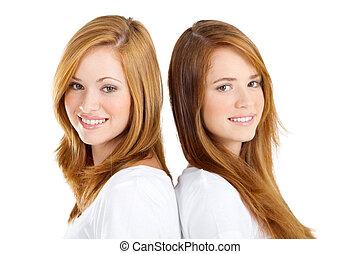 vacker, tvilling, tonåring flickor