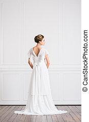 vacker, ung, baksida, brud, vita klä, synhåll