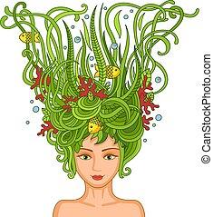 vacker, ung flicka, med, abstrakt, vågig, hair.
