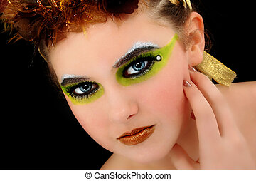 vacker, ung kvinna, ansikte, artsitic, kosmetika