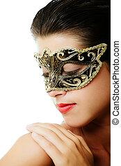 vacker, ung kvinna, in, karneval maskera