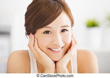 vacker, ung kvinna, le, asiat