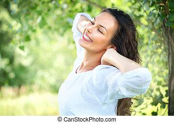 vacker, ung kvinna, outdoor., tycka om, natur