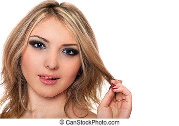 vacker, ung, lekfull, närbild, stående, blondin