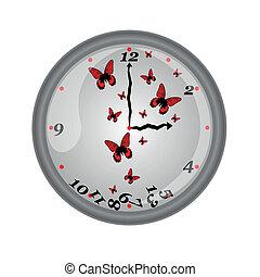 vacker, vägg, fjäril, klocka