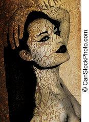 vacker, vägg, graffiti, kvinna, forntida