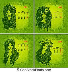 vacker, vektor, series., färgrik, kalendrar, flickor, year., 2, 2014, del