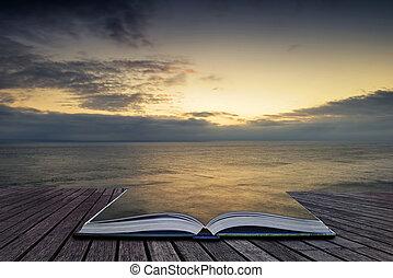 vacker, vibrerande, soluppgång, landskap, över, stillhet,...