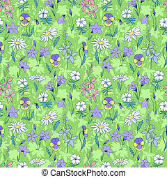 vacker, vild blommar, seamless, mönster