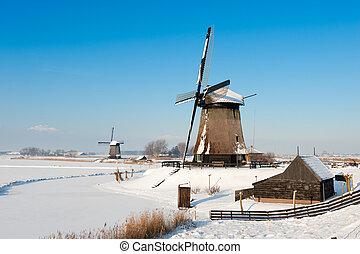 vacker, vinter, väderkvarn, landskap