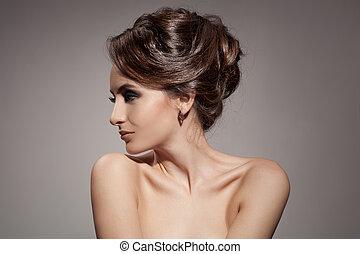 vacker, woman., brunett, hairstyle.