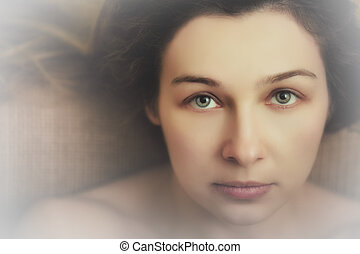 vackra ögon, kvinna, uttrycksfull, sensuell