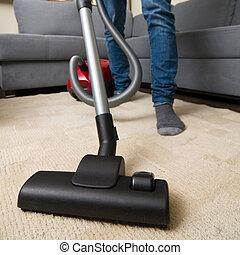 vacuüm, thuis, poetsen, reinigingsmachine