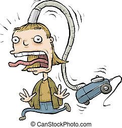 Vacuum Attack - A cartoon woman has the nozzle of a vacuum...